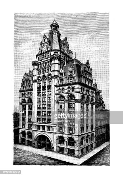 old engraved illustration of captain frederick pabst mansion milwaukee, pabst building, wisconsin, usa. - vilas_county,_wisconsin stock pictures, royalty-free photos & images