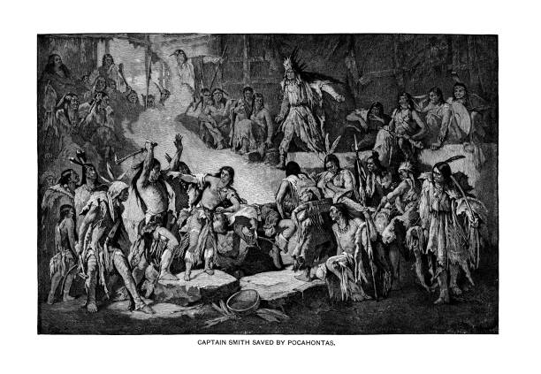 Old engraved illustration of Captain John Smith (explorer) saved by Pocahontas