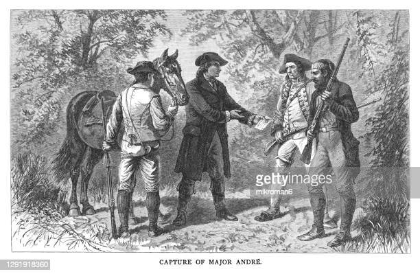 old engraved illustration of capture of major john andré - major stock pictures, royalty-free photos & images