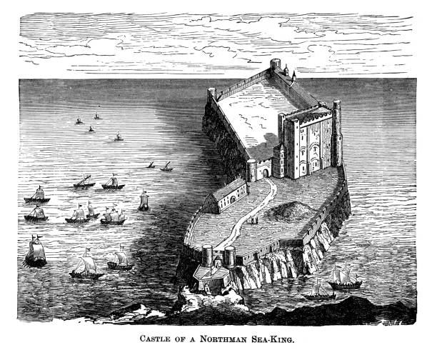 Old engraved illustration of Castle of a Northman Sea- King