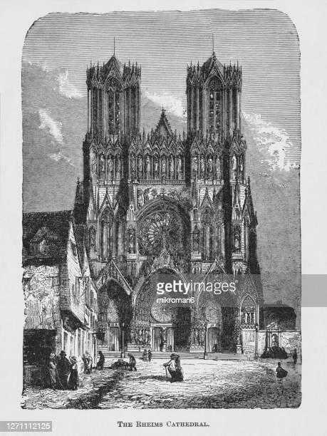 old engraved illustration of cathédrale notre-dame de paris, (our lady of paris) - paris france stock pictures, royalty-free photos & images
