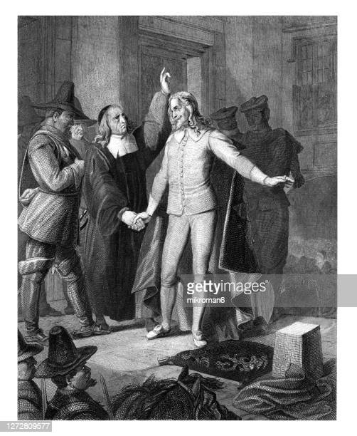 old engraved illustration of charles i receiving benediction before execution - execution stock pictures, royalty-free photos & images