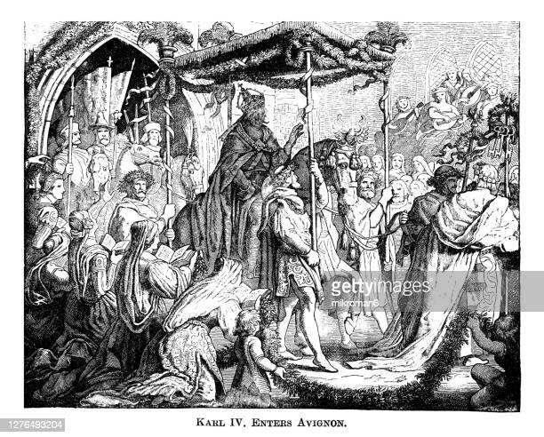 old engraved illustration of charles iv, holy roman emperor enters avignon - house of representatives stock pictures, royalty-free photos & images