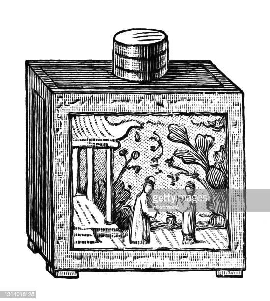 old engraved illustration of chinese culture, old tea socket with soapstone carving - soapstone stock pictures, royalty-free photos & images
