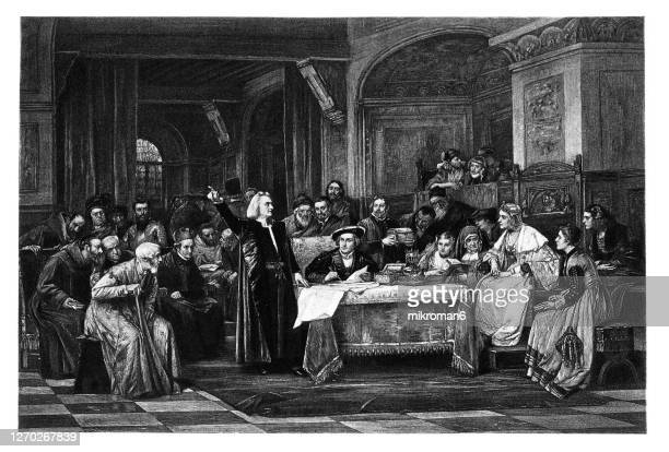old engraved illustration of christopher columbus before isabella i of castile - west indies stock pictures, royalty-free photos & images