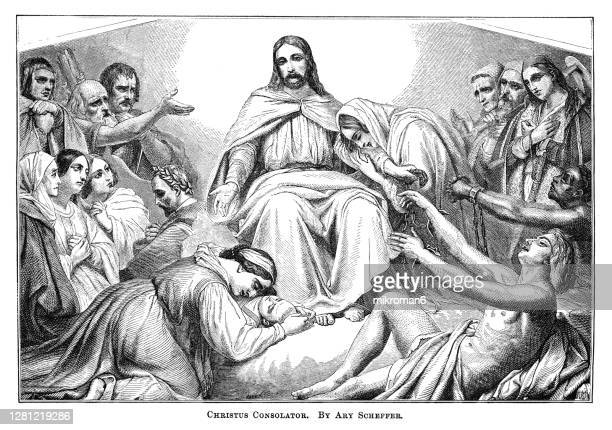 old engraved illustration of christus consolator by ary scheffer - royal person ストックフォトと画像