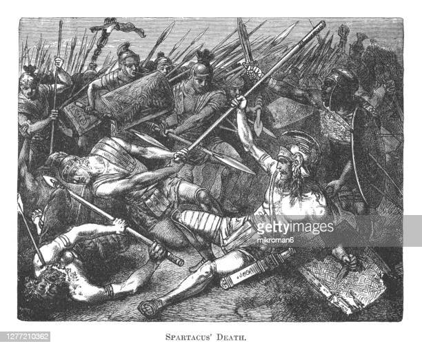 old engraved illustration of death of gladiator spartacus - execution stock pictures, royalty-free photos & images
