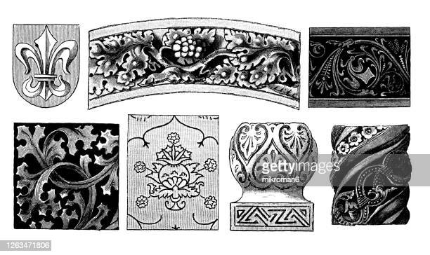 old engraved illustration of decorative floral ornaments - medieval stock pictures, royalty-free photos & images