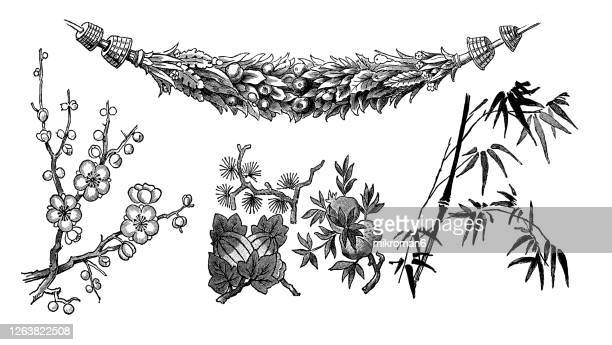 old engraved illustration of decorative floral ornaments - floral pattern stock pictures, royalty-free photos & images