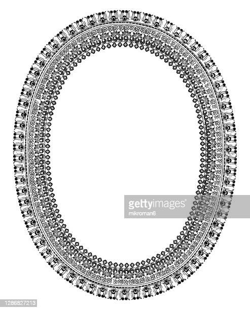old engraved illustration of decorative frame - white background stock pictures, royalty-free photos & images