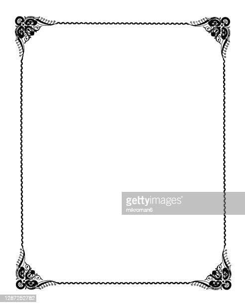 old engraved illustration of decorative frame - old fashioned stock pictures, royalty-free photos & images