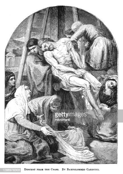 old engraved illustration of descent from the cross by bartolomeo carducci - good friday stock pictures, royalty-free photos & images