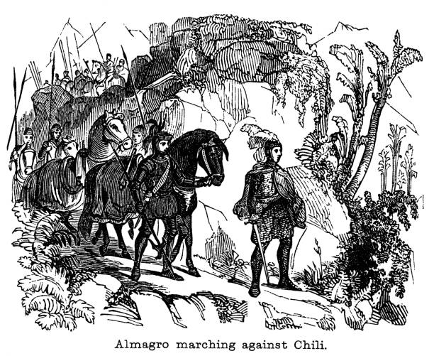 Old engraved illustration of Diego de Almagro marching against Chile