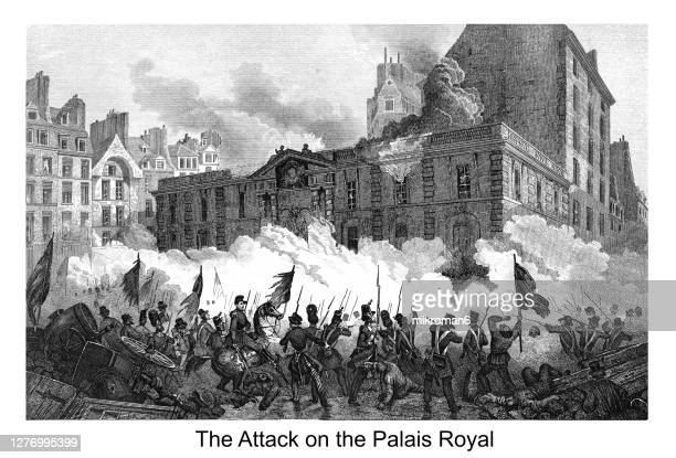old engraved illustration of dramatic military scene shows the heat of battle during the attack on the palais royal. france revolution, 1848 - execution stock pictures, royalty-free photos & images