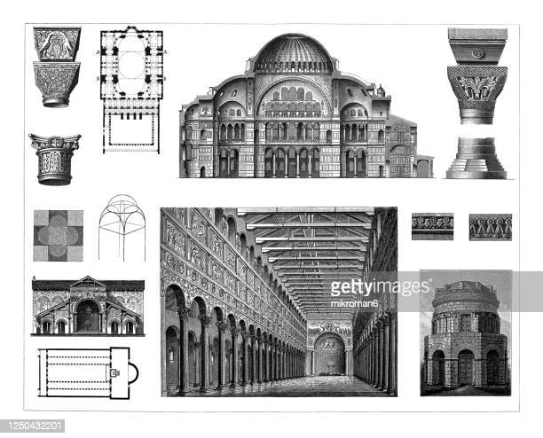 old engraved illustration of early christian and byzantine architecture - column stock pictures, royalty-free photos & images