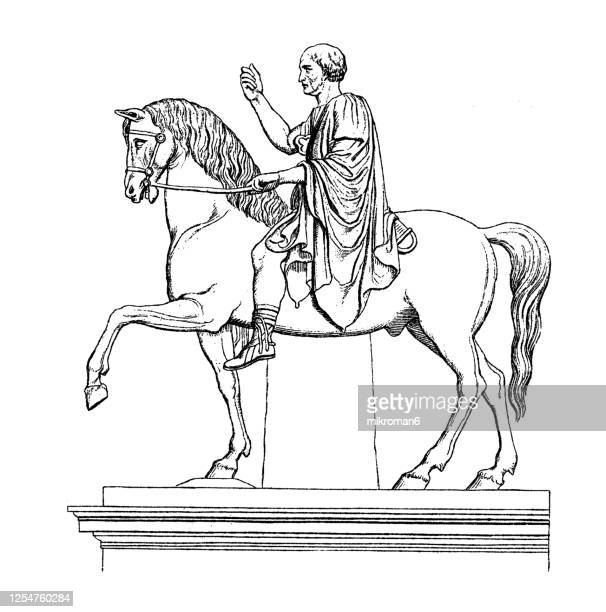 old engraved illustration of equestrian statue of marcus nonius balbus. - statue stock pictures, royalty-free photos & images