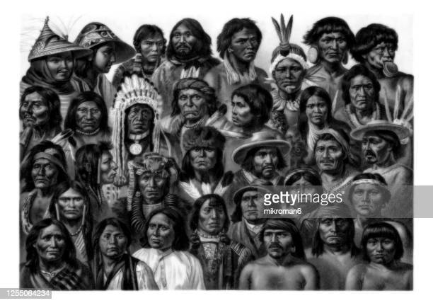 old engraved illustration of ethnology - apache photos et images de collection