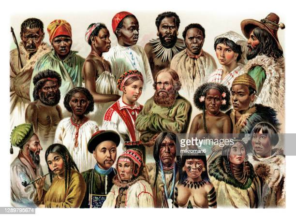 old engraved illustration of ethnology, principal types of mankind (thomas henry huxley) - unfairness stock pictures, royalty-free photos & images