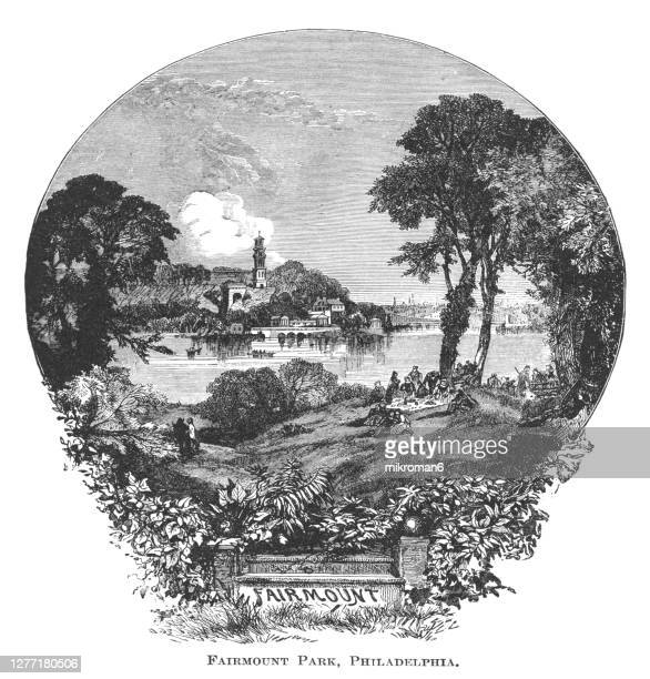 old engraved illustration of fairmount park in philadelphia, pennsylvania, usa - 100th anniversary stock pictures, royalty-free photos & images