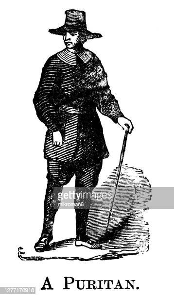 old engraved illustration of fashion of a puritan gentleman - civil war stock pictures, royalty-free photos & images