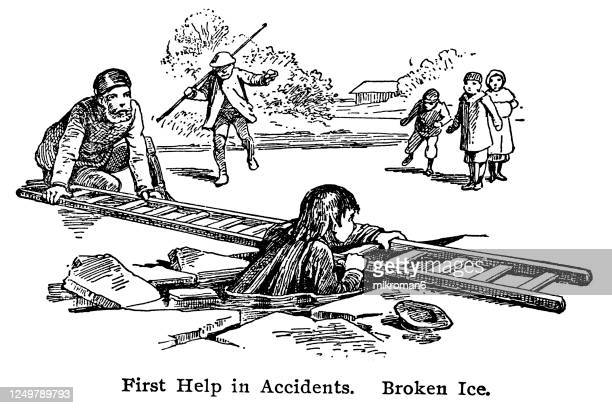 old engraved illustration of first help when the ice breaks down, broken ice - ice floe stock pictures, royalty-free photos & images