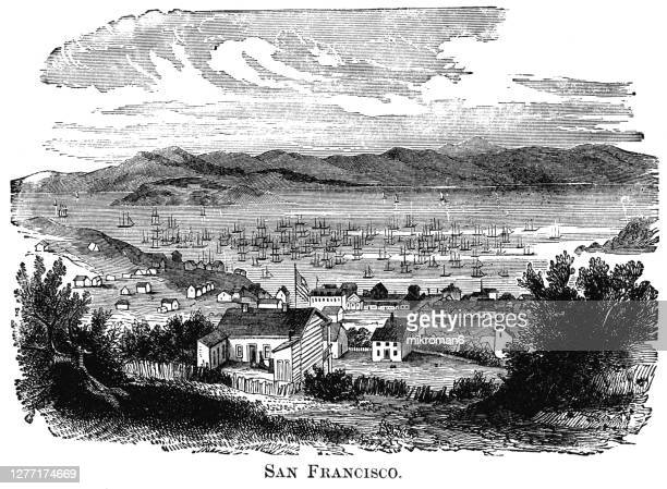 old engraved illustration of first settlement of san francisco, usa - sanduíche stock pictures, royalty-free photos & images