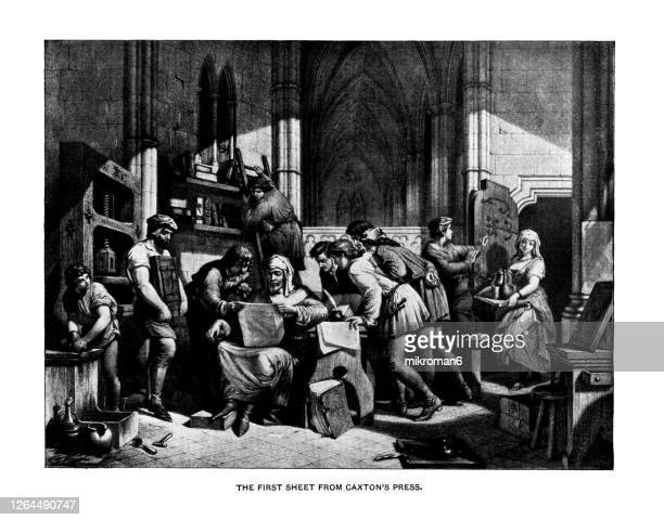 old engraved illustration of first sheet from caxton's press, william caxton - ambassador stock pictures, royalty-free photos & images