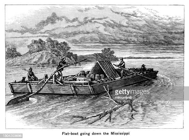 old engraved illustration of flatboat going down the mississippi - passenger craft stock pictures, royalty-free photos & images