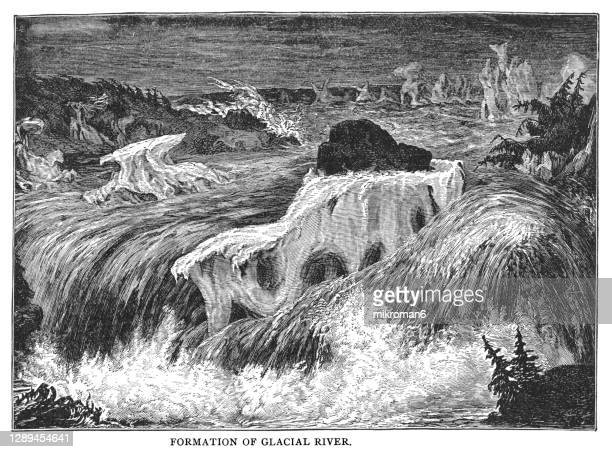old engraved illustration of formation of glacial river by édouard riou - antarctic ocean stock pictures, royalty-free photos & images