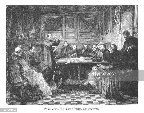 old engraved illustration of formation of the order of jesuits - catholicism stock pictures, royalty-free photos & images