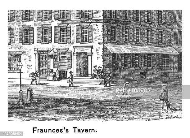 old engraved illustration of fraunces tavern, headquarters for george washington - united states presidential election stock pictures, royalty-free photos & images