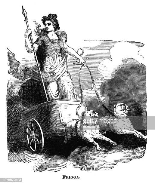 old engraved illustration of frigga norse goddess - scandinavian ethnicity stock pictures, royalty-free photos & images