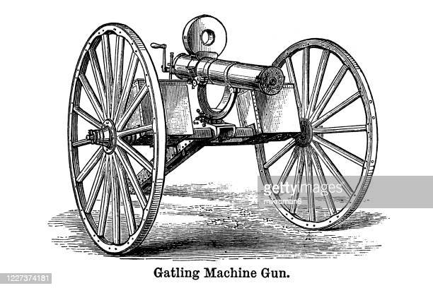 old engraved illustration of gatling machine gun - gun stock pictures, royalty-free photos & images