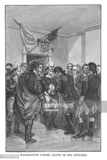old engraved illustration of general george washington bids farewell to his officers of his army in 1783 during the american war of independence - united states presidential election stock pictures, royalty-free photos & images