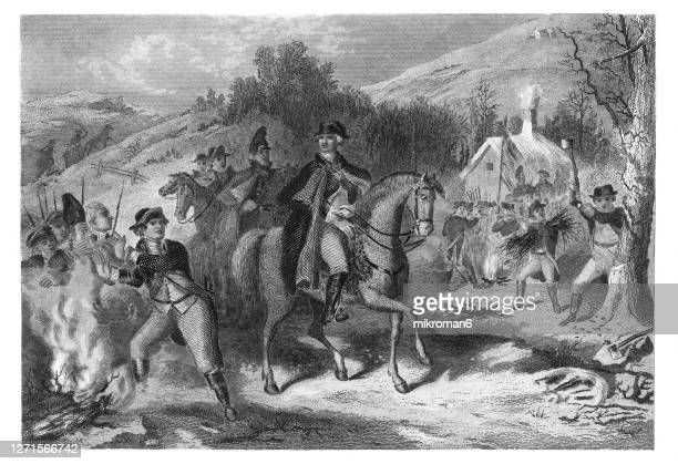 old engraved illustration of george washington's continental army leaving the winter camp at valley forge, pennsylvania during the revolutionary war. - american revolution stock pictures, royalty-free photos & images