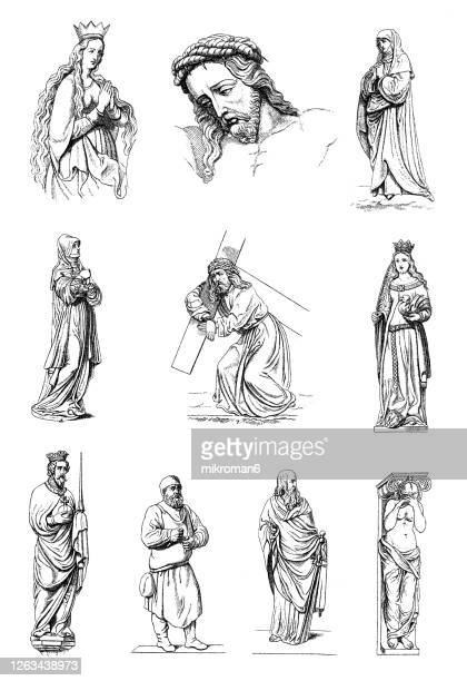 old engraved illustration of german art xiv-xvii century - old fashioned stock pictures, royalty-free photos & images