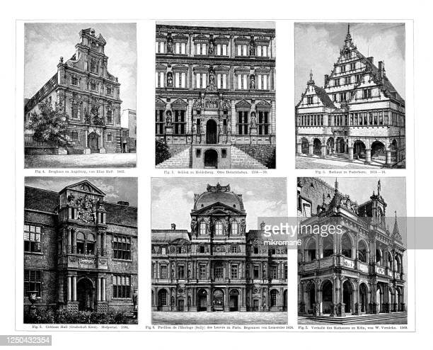 old engraved illustration of german, french and english renaissance architecture - paris france stock pictures, royalty-free photos & images