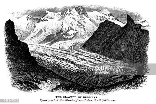 old engraved illustration of glaciers - the glacier of zermatt - antarctic ocean stock pictures, royalty-free photos & images