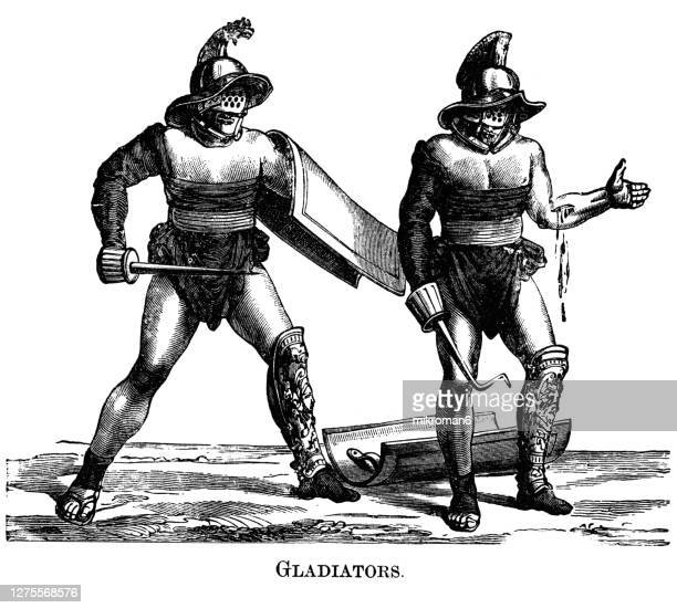 old engraved illustration of gladiators, from a painting on the parapet of the amphitheatre at pompeii. - execution stock pictures, royalty-free photos & images