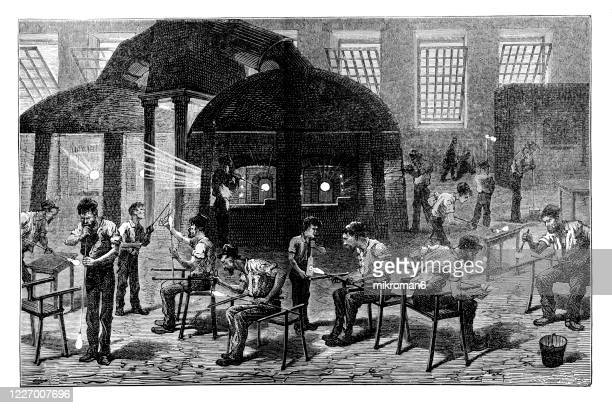 old engraved illustration of glass manufacture, general view of interior of a glass-work - 19th century stock pictures, royalty-free photos & images