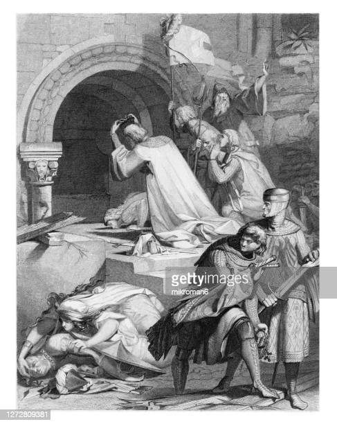 old engraved illustration of godfrey de bouillon at the holy sepulchre - godfrey of bouillon stock pictures, royalty-free photos & images