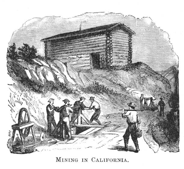 Old engraved illustration of Gold rush, miners panning for gold, California