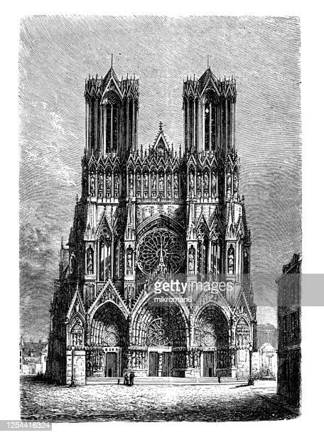 old engraved illustration of gothic style architecture (13 -14 century) - catholicism stock pictures, royalty-free photos & images