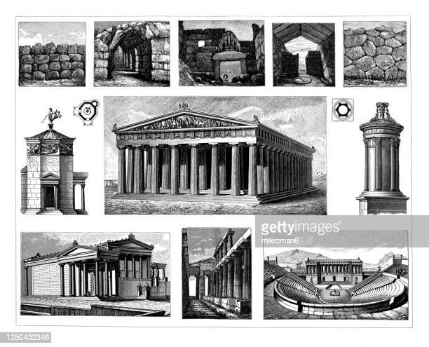 old engraved illustration of greek architecture - unesco world heritage site stock pictures, royalty-free photos & images