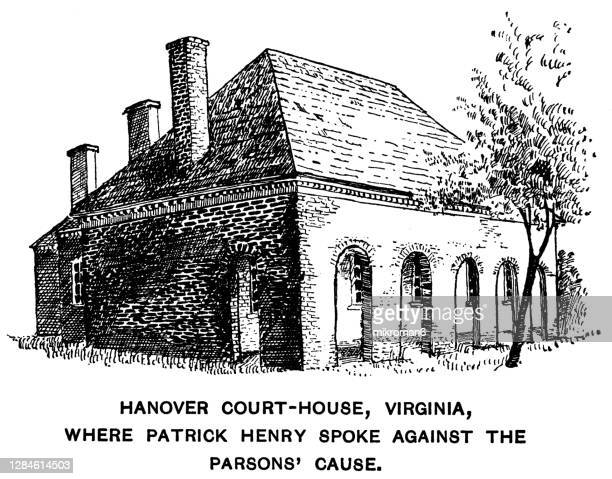 old engraved illustration of hanover county courthouse - governor stock pictures, royalty-free photos & images