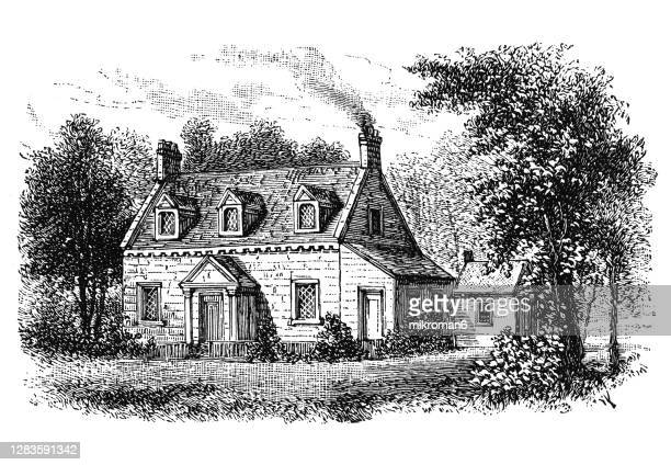 old engraved illustration of henry clay birthplace - 名作 発祥の地 ストックフォトと画像