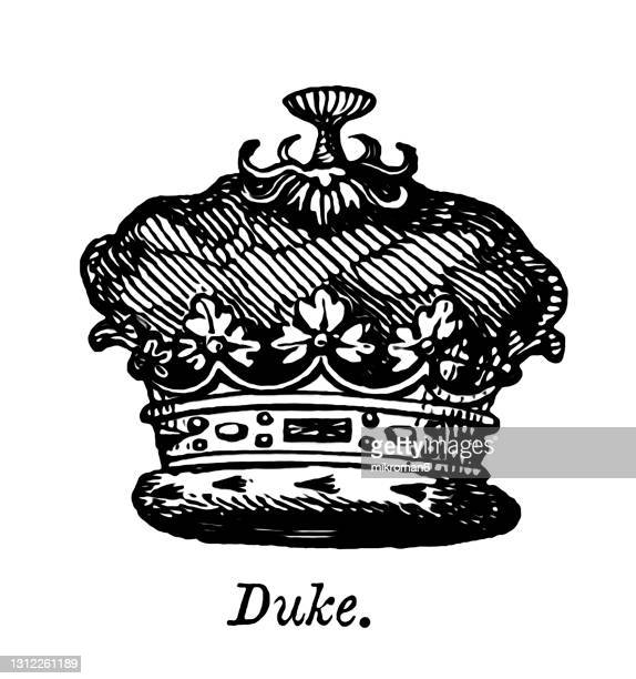 old engraved illustration of heraldry, crown and coronets - mitres and helmets, duke coronet - duke stock pictures, royalty-free photos & images