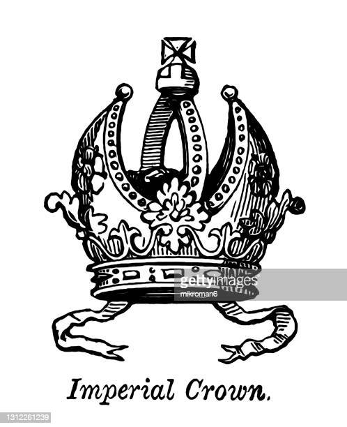 old engraved illustration of heraldry, crown and coronets - mitres and helmets, imperial crown - tiara stock pictures, royalty-free photos & images