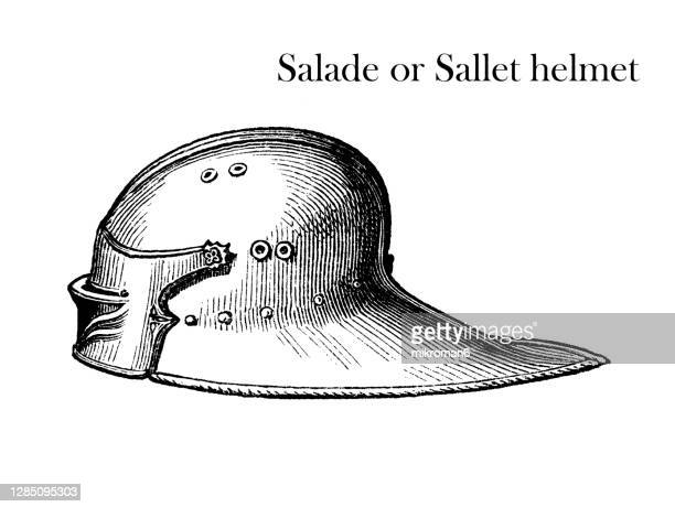 old engraved illustration of historical salade or sallet helmet (15th century) - traditionally hungarian stock pictures, royalty-free photos & images