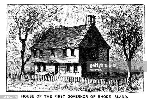 old engraved illustration of house of the first governor of rhode island - governor stock pictures, royalty-free photos & images